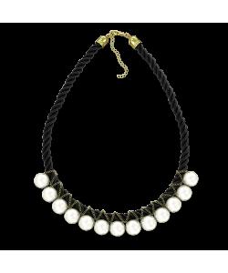 Ожерелья Ожерелье из белого жемчуга на чёрной нити фото, цена