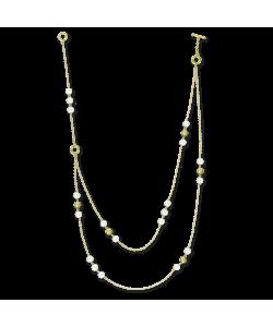 Ожерелья Ожерелье из белого жемчуга с золотыми бусинами фото, цена